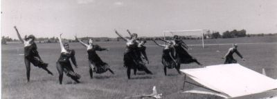 Year: 1989; Colour guard rehearsing (or stretching - who knows?)
