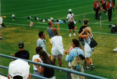 Year: 1996; Staff Cheering on the corps coming off the field